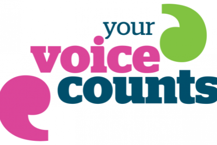 Blue and pink text reads: your voice counts