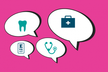 Speech bubbles with health related icons inside on a bright pink background,