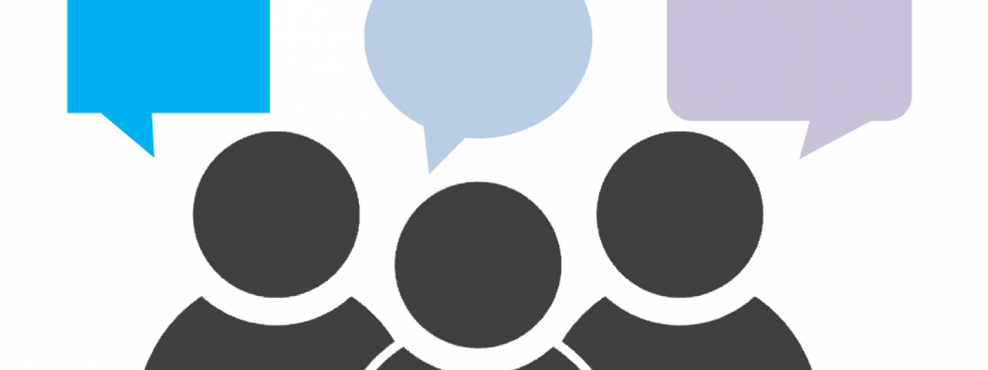 Graphic of three people with speech bubbles coming out of their heads